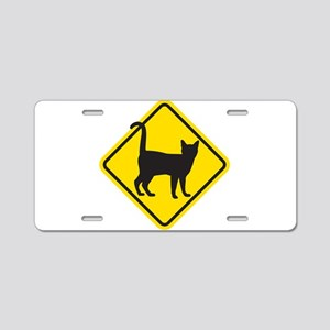 Cat Crossing Aluminum License Plate